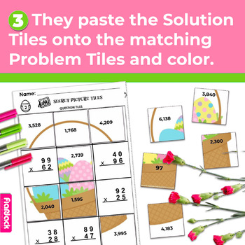 Spring Math 4th-5th Grade Worksheets | Secret Picture Tiles