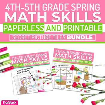 Spring Math | 4th-5th | Paperless Printable Secret Picture Tiles SET