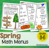Spring Math Activities - Math Menus (3rd - 5th)