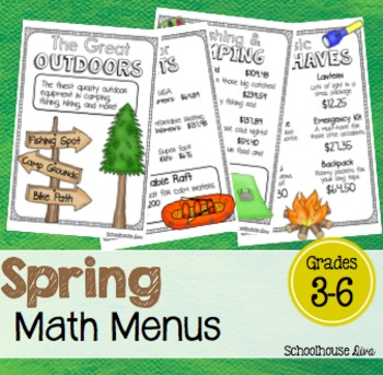 Spring Math Activities - Math Menus (3rd - 5th)