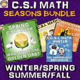 Fall Math Activity (Autumn) Seasonal Bundle: CSI Math: Spring/Winter/Fall/Summer