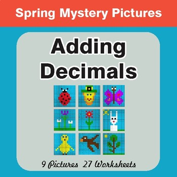 Spring Math: Adding Decimals - Mystery Pictures