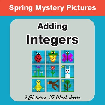 Spring Math: Adding Integers - Math Mystery Pictures