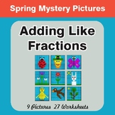 Spring Math: Adding Like Fractions - Color-By-Number Myste