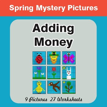 Spring Math: Adding Money - Color-By-Number Math Mystery Pictures