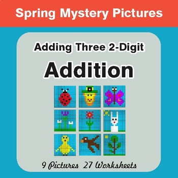Spring Math: Adding Three 2-Digit Addition - Mystery Pictures
