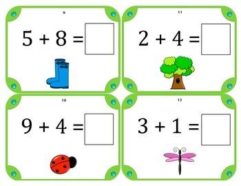 Spring Math Addition Task Cards (Set of 28) Grades 1-2