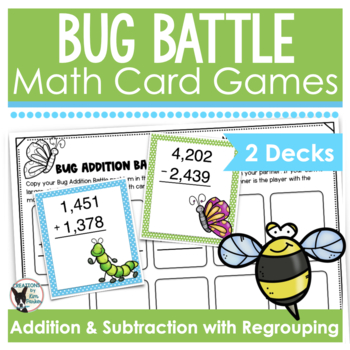 Spring Math Card Games Addition and Subtraction with Regrouping