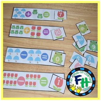 Spring Math Center - Addition & Subtraction to 10 {Kinder & Grade 1}