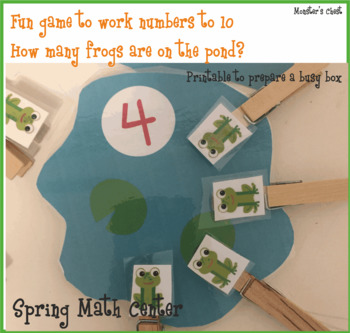 Spring Math Center. Counting to 10 hands-on Game. Frogs & Ponds. Prek,K and Sped