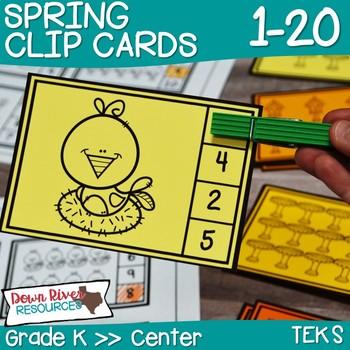 Kindergarten Spring Math Center: Clip Cards 1-20 (English
