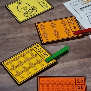 Kindergarten Spring Math Center: Clip Cards 1-20 (English and Spanish)