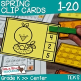Spring Clip Cards 1-20 | Kindergarten Math Centers | English and Spanish
