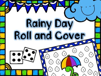 Spring Math Center -- Rainy Day Roll and Cover