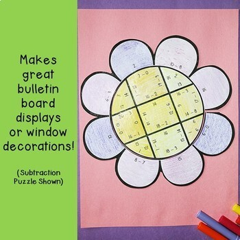 Spring Math Centers: Addition Flower Puzzles