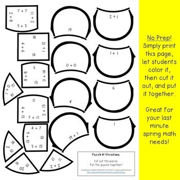 ADDITION Flower Puzzles | Spring Math Centers, Stations, Activities, or Games