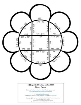 Spring Math Numbers within 1000 | Addition and Subtraction Worksheet Alternative