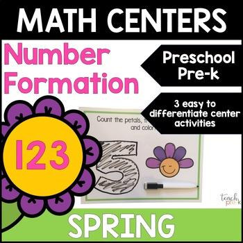 Spring Math Centers: Numeral Writing for Preschool, PreK, K & Homeschool