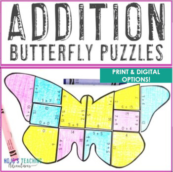 ADDITION Butterfly Puzzles | FUN Spring Math Games, Centers, or Activities