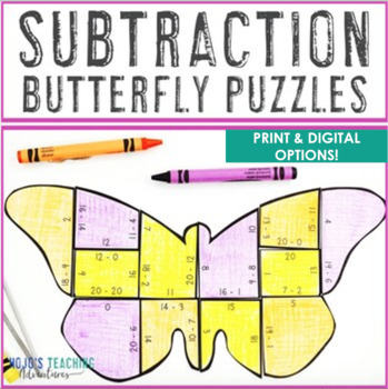 SUBTRACTION Butterfly Puzzles | Spring Math Games, Centers, or Activities