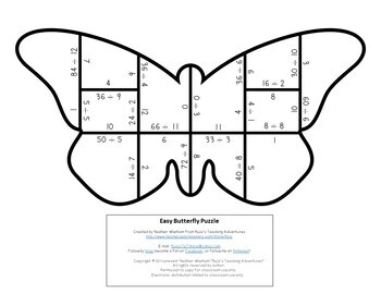 DIVISION Butterfly Puzzles | FUN Spring Math Centers, Games, or Activities