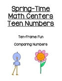 Spring Math Centers - Teen Numbers - 10 Frame, Comparing