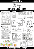 Spring Math Centers for Kindergarten B&W