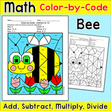 Spring Math Color by Number Bee Hidden Picture: Add, Subtract, Multiply, Divide