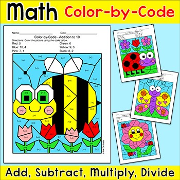 Math Centers Color-By-Code Bundle: Bee, Ladybug, Butterfly, Flower