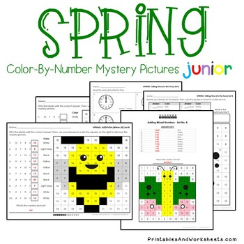 Spring Math Coloring Bundle - Spring Math Worksheets for K-2