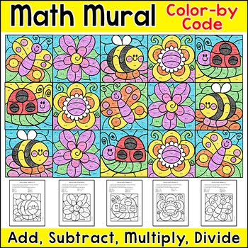 Summer Math Color by Number Mural: Add, Subtract, Multiply