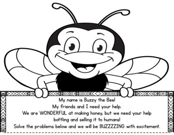 Spring Math Craftivity- Buzzy the Bee Multi-Step Word Problem- Grades 2-5