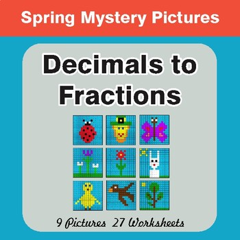 Spring Math: Decimals To Fractions - Color-By-Number Mystery Pictures