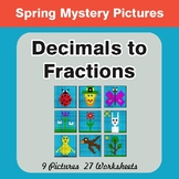 Spring Math: Decimals To Fractions - Color-By-Number Myste