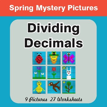 Spring Math: Dividing Decimals - Math Mystery Pictures