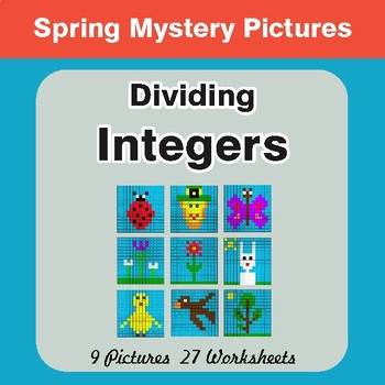 Spring Math: Dividing Integers - Math Mystery Pictures