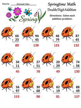 Spring Math Activities: Spring Math Drills Activity Packet