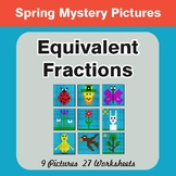 Spring Math: Equivalent Fractions - Color-By-Number Myster
