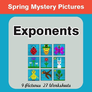 Spring Math: Exponents - Color-By-Number Math Mystery Pictures