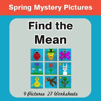 Spring Math: Find the Mean (Math Average) - Mystery Pictures