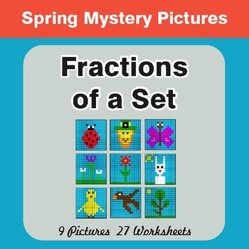 Spring Math: Fractions of a Set - Color-By-Number Math Mystery Pictures