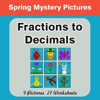 Spring Math: Fractions to Decimals - Color-By-Number Math Mystery Pictures