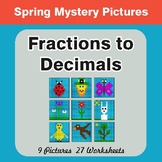 Spring Math: Fractions to Decimals - Color-By-Number Myste