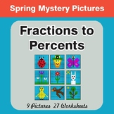 Spring Math: Fractions to Percents - Color-By-Number Myste