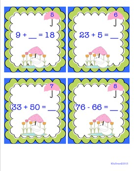 end of the year activities review  Addition Subtraction Math Centers Game