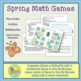 Spring Math Games - Addition, Multiplication, Place Value,