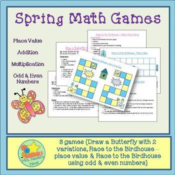 Spring Math Games - Place Value, Addition, Multiplication,