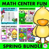 Spring Math Games & Math Worksheets BUNDLE with Addition &