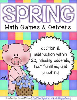 Spring Math Games and Centers - Addition, Subtraction, Gra