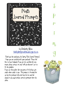 Spring Math Journal Prompts
